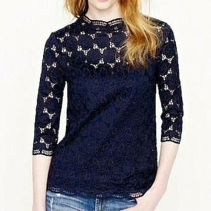 J Crew Collection Lace Mockneck 3/4 Sleeve Top S